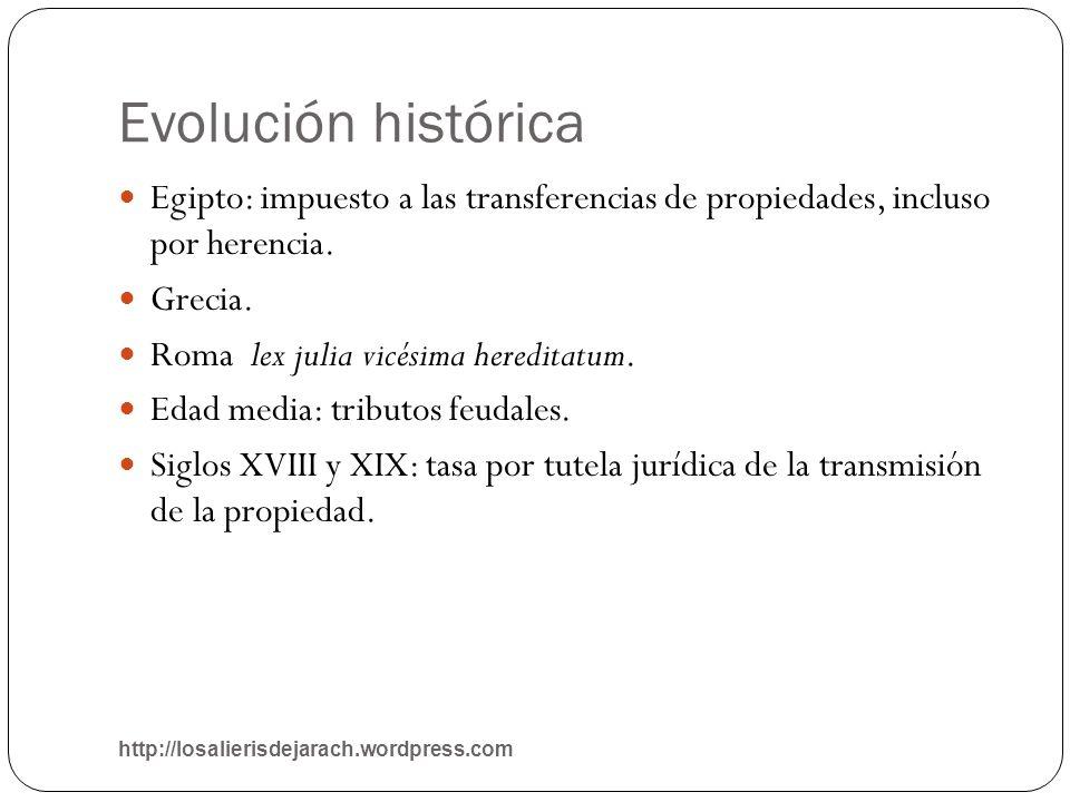 Evolución histórica http://losalierisdejarach.wordpress.com Egipto: impuesto a las transferencias de propiedades, incluso por herencia. Grecia. Roma l