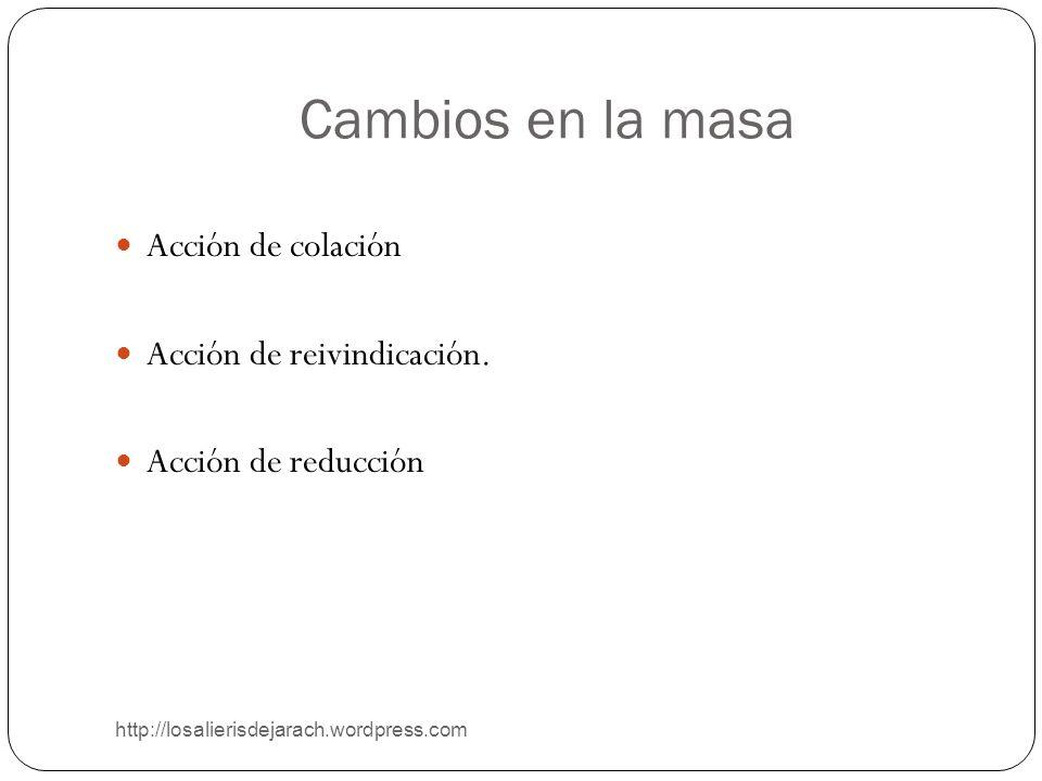 Cambios en la masa http://losalierisdejarach.wordpress.com Acción de colación Acción de reivindicación. Acción de reducción