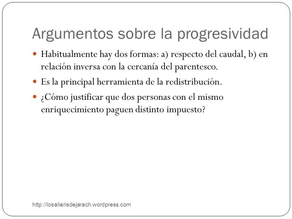 Argumentos sobre la progresividad http://losalierisdejarach.wordpress.com Habitualmente hay dos formas: a) respecto del caudal, b) en relación inversa