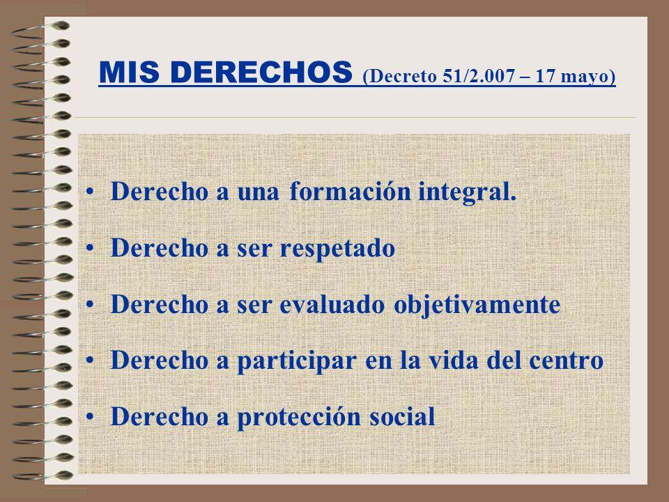 MIS DEBERES (Decreto 51/2.007 – 17 mayo) Deber de estudiar.