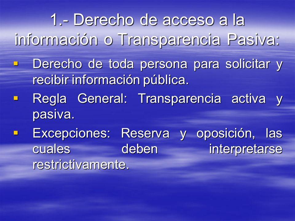 1.- Derecho de acceso a la información o Transparencia Pasiva: Derecho de toda persona para solicitar y recibir información pública. Derecho de toda p