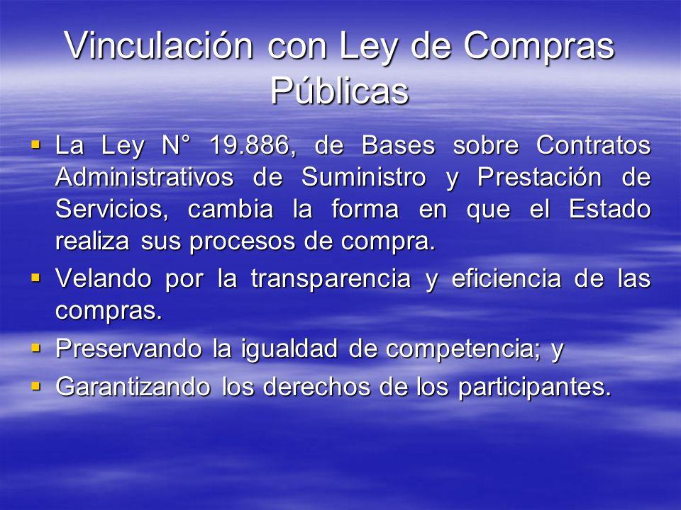 Vinculación con Ley de Compras Públicas La Ley N° 19.886, de Bases sobre Contratos Administrativos de Suministro y Prestación de Servicios, cambia la