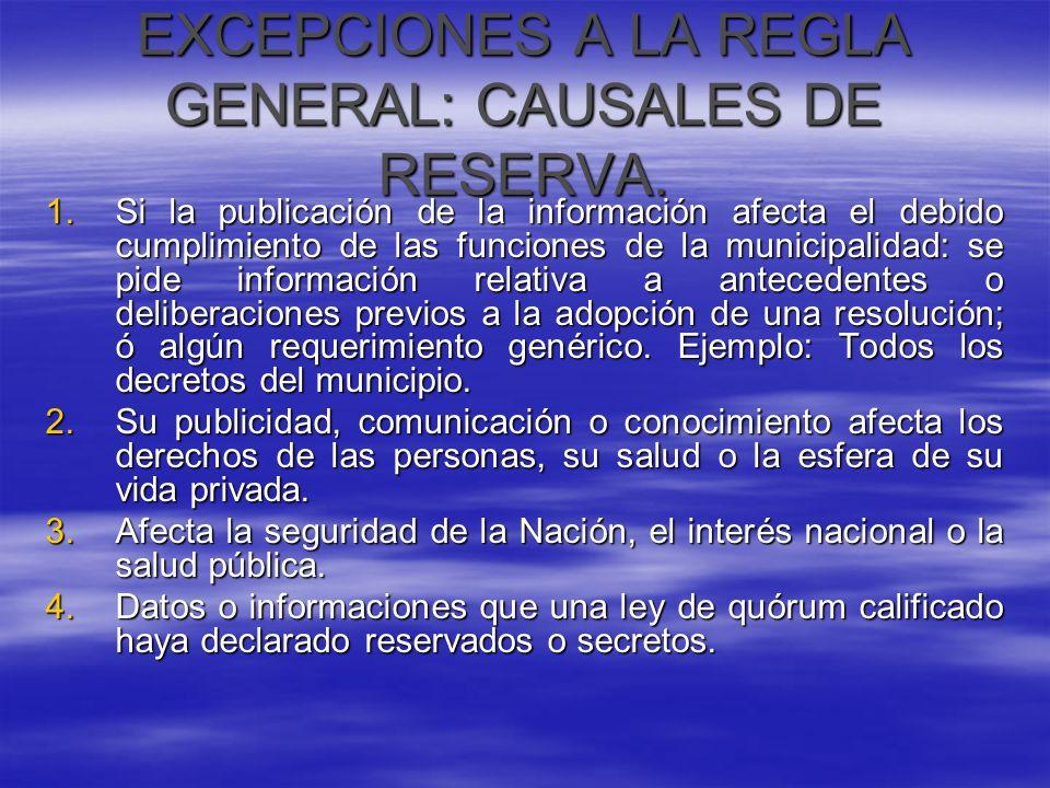 EXCEPCIONES A LA REGLA GENERAL: CAUSALES DE RESERVA. 1.Si la publicación de la información afecta el debido cumplimiento de las funciones de la munici
