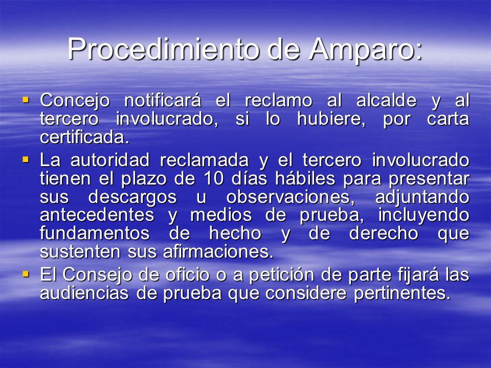 Procedimiento de Amparo: Concejo notificará el reclamo al alcalde y al tercero involucrado, si lo hubiere, por carta certificada. Concejo notificará e