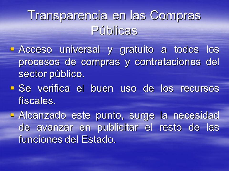 Transparencia en las Compras Públicas Acceso universal y gratuito a todos los procesos de compras y contrataciones del sector público. Acceso universa