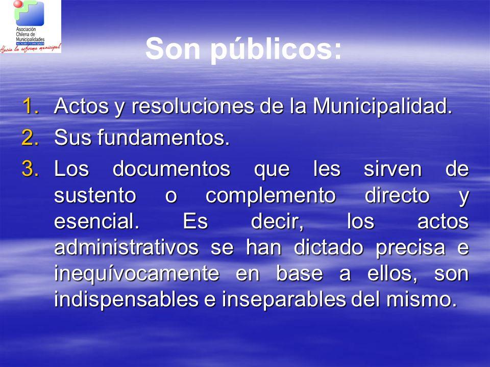 Son públicos: 1.Actos y resoluciones de la Municipalidad. 2.Sus fundamentos. 3.Los documentos que les sirven de sustento o complemento directo y esenc