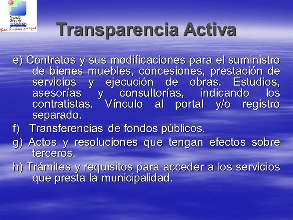 Transparencia Activa e) Contratos y sus modificaciones para el suministro de bienes muebles, concesiones, prestación de servicios y ejecución de obras