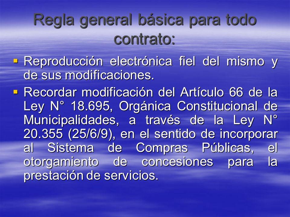 Regla general básica para todo contrato: Reproducción electrónica fiel del mismo y de sus modificaciones. Reproducción electrónica fiel del mismo y de