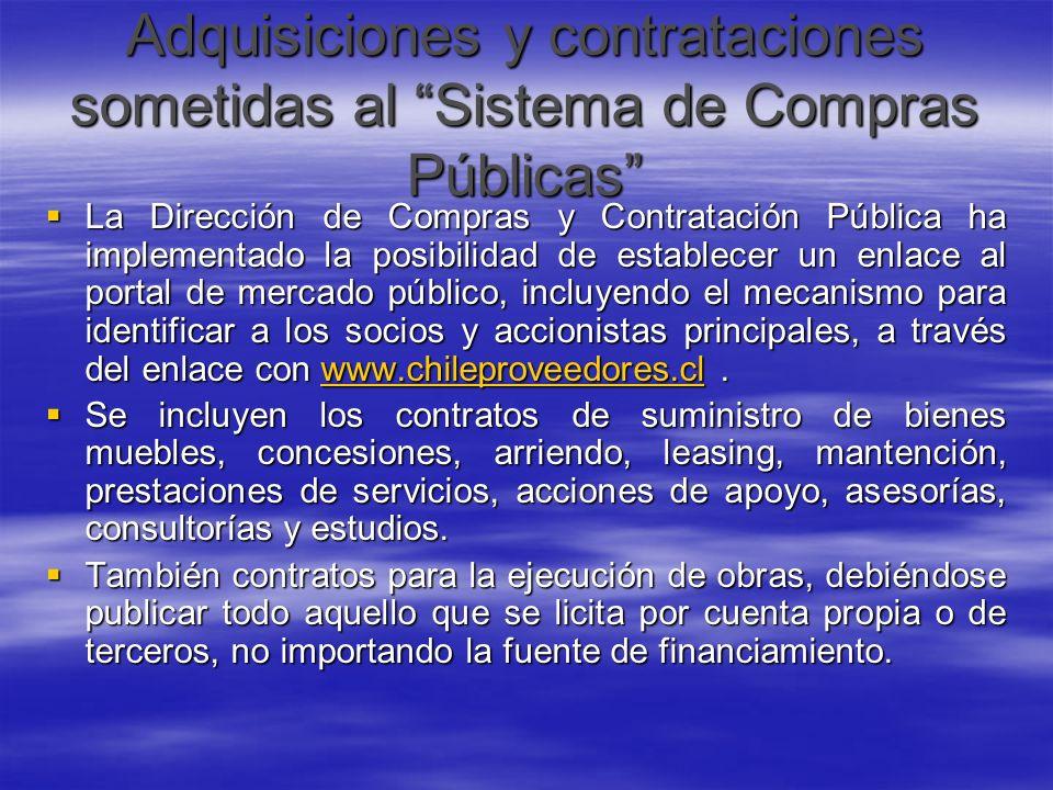 Adquisiciones y contrataciones sometidas al Sistema de Compras Públicas La Dirección de Compras y Contratación Pública ha implementado la posibilidad