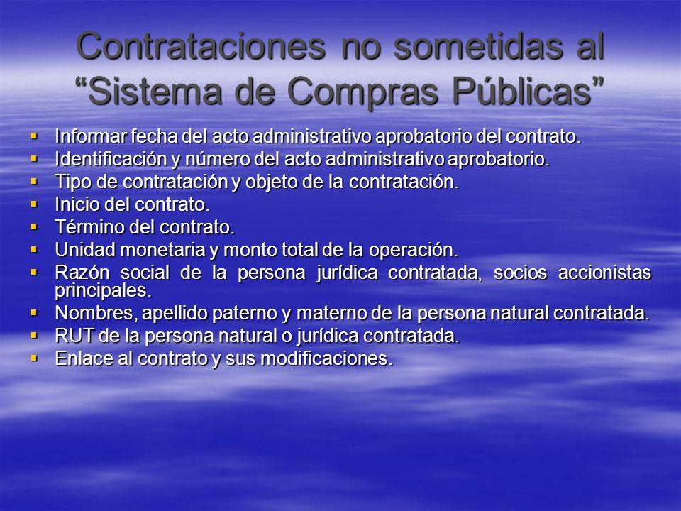 Contrataciones no sometidas al Sistema de Compras Públicas Informar fecha del acto administrativo aprobatorio del contrato. Informar fecha del acto ad