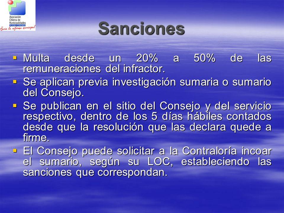 Sanciones Multa desde un 20% a 50% de las remuneraciones del infractor. Multa desde un 20% a 50% de las remuneraciones del infractor. Se aplican previ