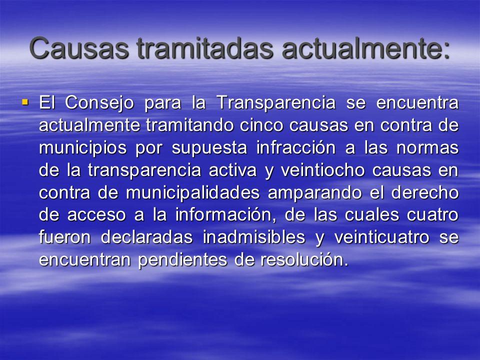 Causas tramitadas actualmente: El Consejo para la Transparencia se encuentra actualmente tramitando cinco causas en contra de municipios por supuesta