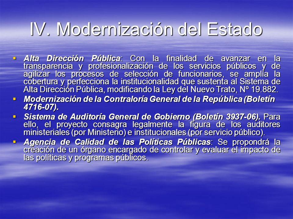 IV. Modernización del Estado Alta Dirección Pública: Con la finalidad de avanzar en la transparencia y profesionalización de los servicios públicos y