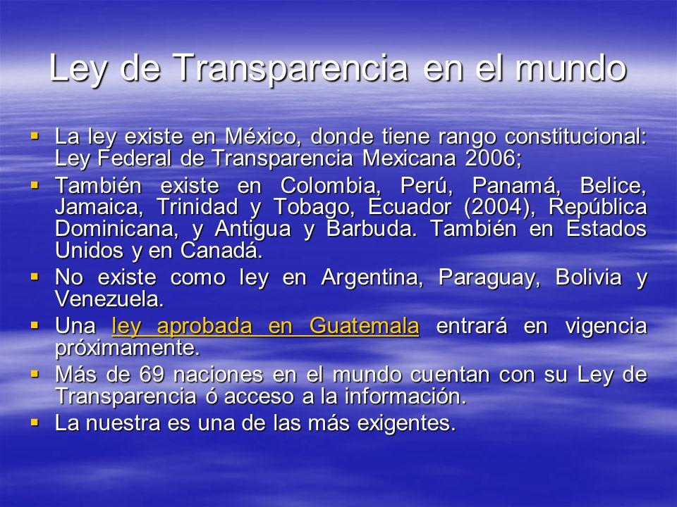 Ley de Transparencia en el mundo La ley existe en México, donde tiene rango constitucional: Ley Federal de Transparencia Mexicana 2006; La ley existe