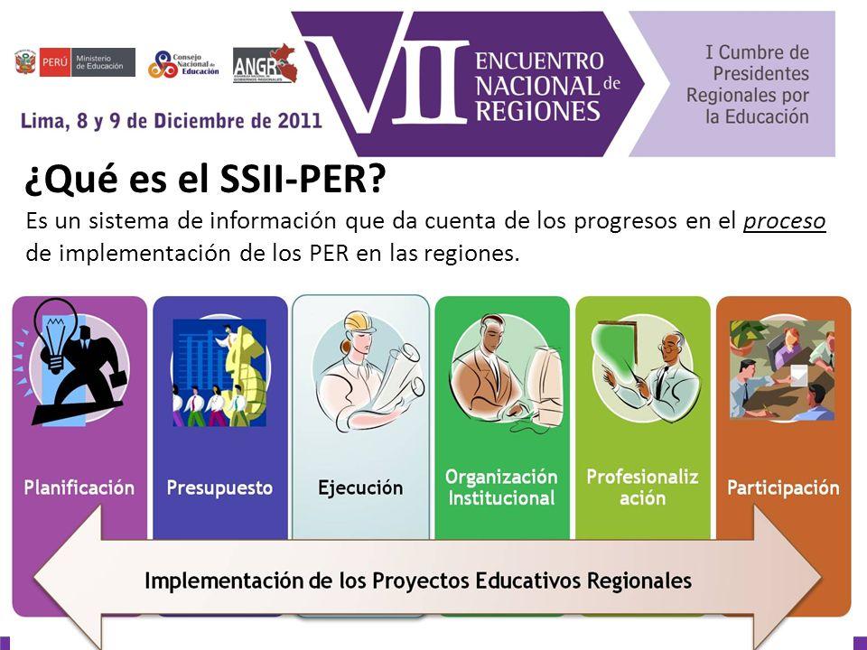 Próximos pasos El siguiente año el SSII-PER se plantea el reto de la construcción de indicadores de resultado articulados a los procesos que venimos monitoreando y la implementación de las políticas del PER.