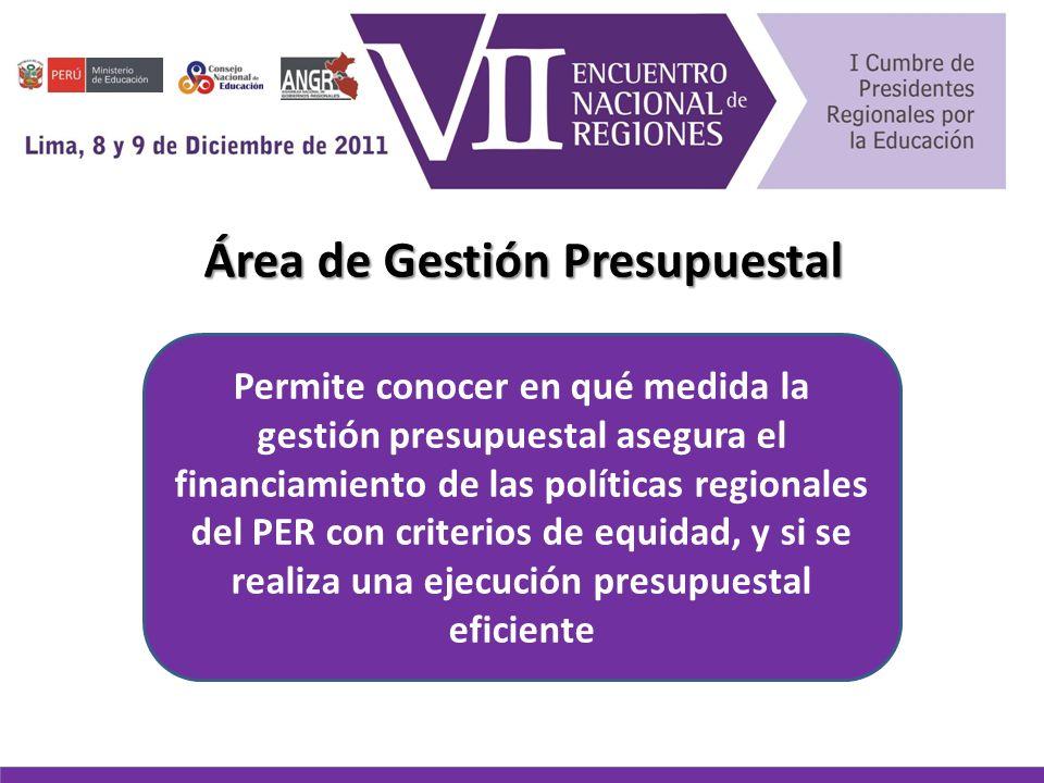 Área de Gestión Presupuestal Permite conocer en qué medida la gestión presupuestal asegura el financiamiento de las políticas regionales del PER con criterios de equidad, y si se realiza una ejecución presupuestal eficiente