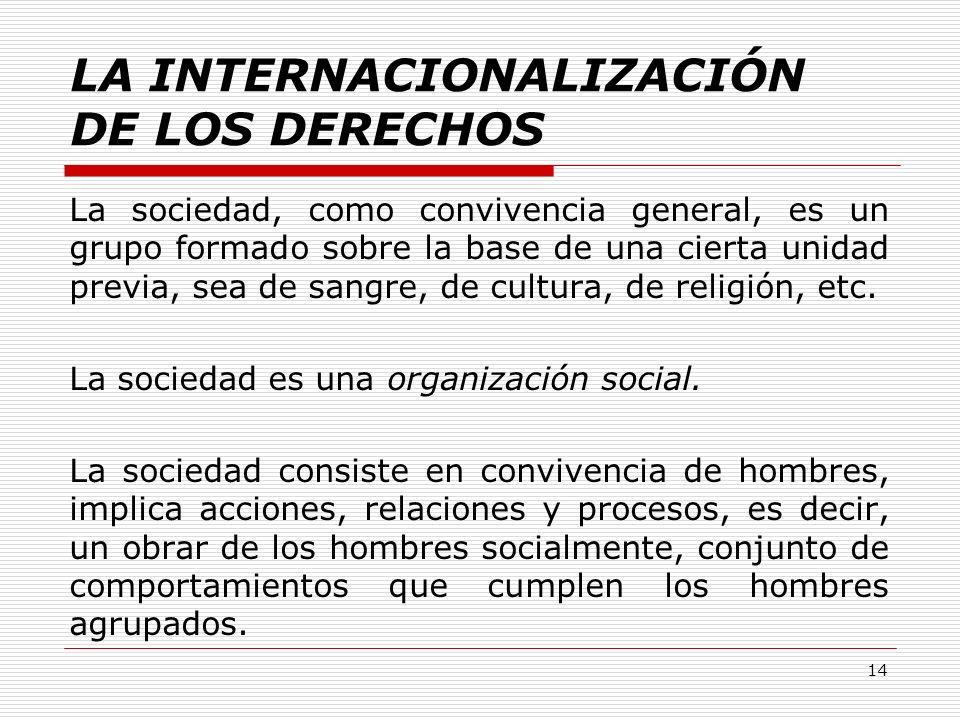 LA INTERNACIONALIZACIÓN DE LOS DERECHOS La sociedad, como convivencia general, es un grupo formado sobre la base de una cierta unidad previa, sea de s