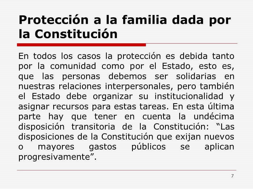 Protección a la familia dada por la Constitución En todos los casos la protección es debida tanto por la comunidad como por el Estado, esto es, que la