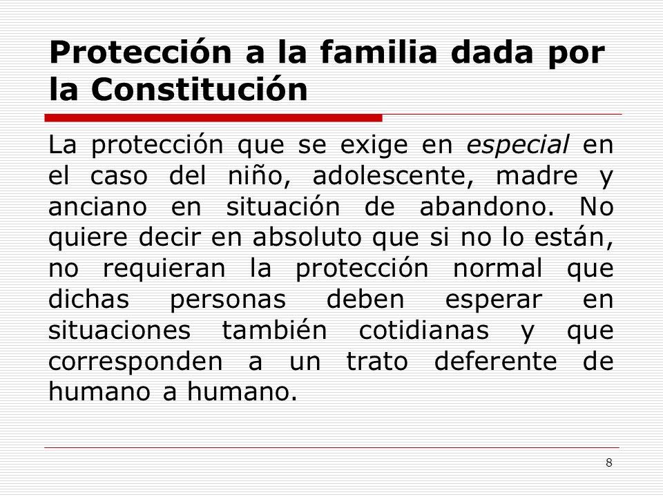 Protección a la familia dada por la Constitución La protección que se exige en especial en el caso del niño, adolescente, madre y anciano en situación