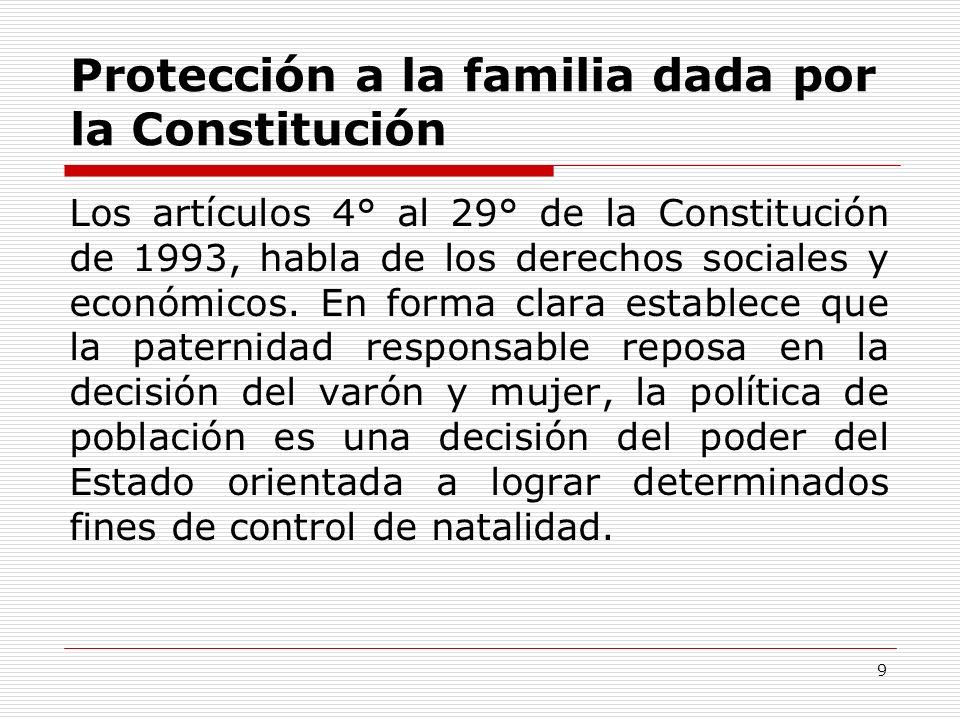 Protección a la familia dada por la Constitución Los artículos 4° al 29° de la Constitución de 1993, habla de los derechos sociales y económicos. En f