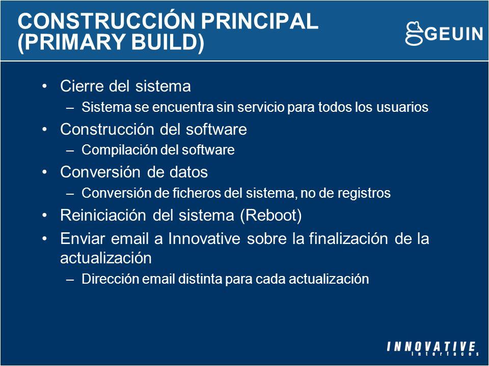 CONSTRUCCIÓN PRINCIPAL (PRIMARY BUILD) Cierre del sistema –Sistema se encuentra sin servicio para todos los usuarios Construcción del software –Compil