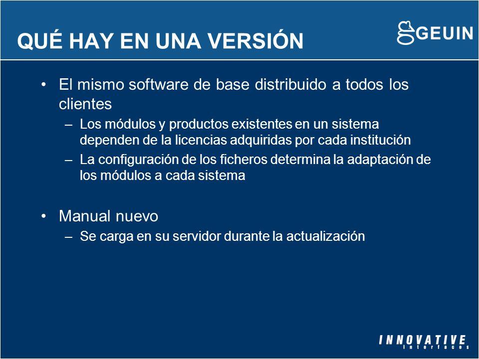 QUÉ HAY EN UNA VERSIÓN El mismo software de base distribuido a todos los clientes –Los módulos y productos existentes en un sistema dependen de la lic