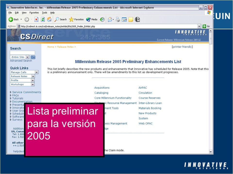 Lista preliminar para la versión 2005