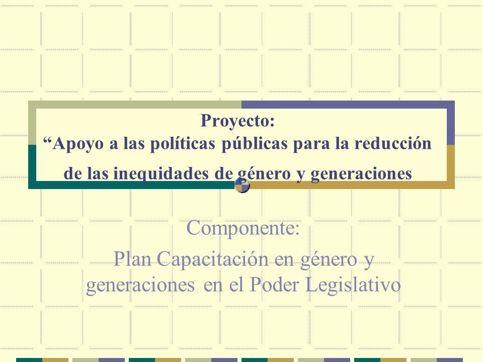 Proyecto: Apoyo a las políticas públicas para la reducción de las inequidades de género y generaciones Componente: Plan Capacitación en género y generaciones en el Poder Legislativo