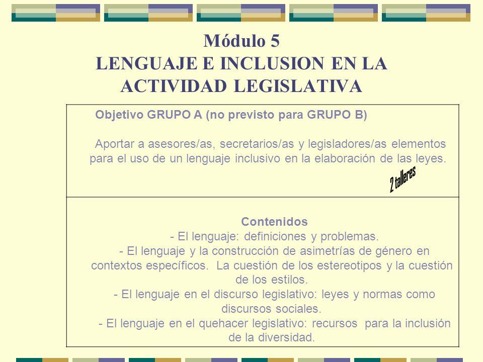Módulo 5 LENGUAJE E INCLUSION EN LA ACTIVIDAD LEGISLATIVA Objetivo GRUPO A (no previsto para GRUPO B) Aportar a asesores/as, secretarios/as y legisladores/as elementos para el uso de un lenguaje inclusivo en la elaboración de las leyes.