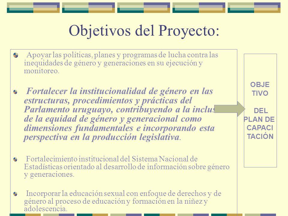 Objetivos del Proyecto: Apoyar las políticas, planes y programas de lucha contra las inequidades de género y generaciones en su ejecución y monitoreo.
