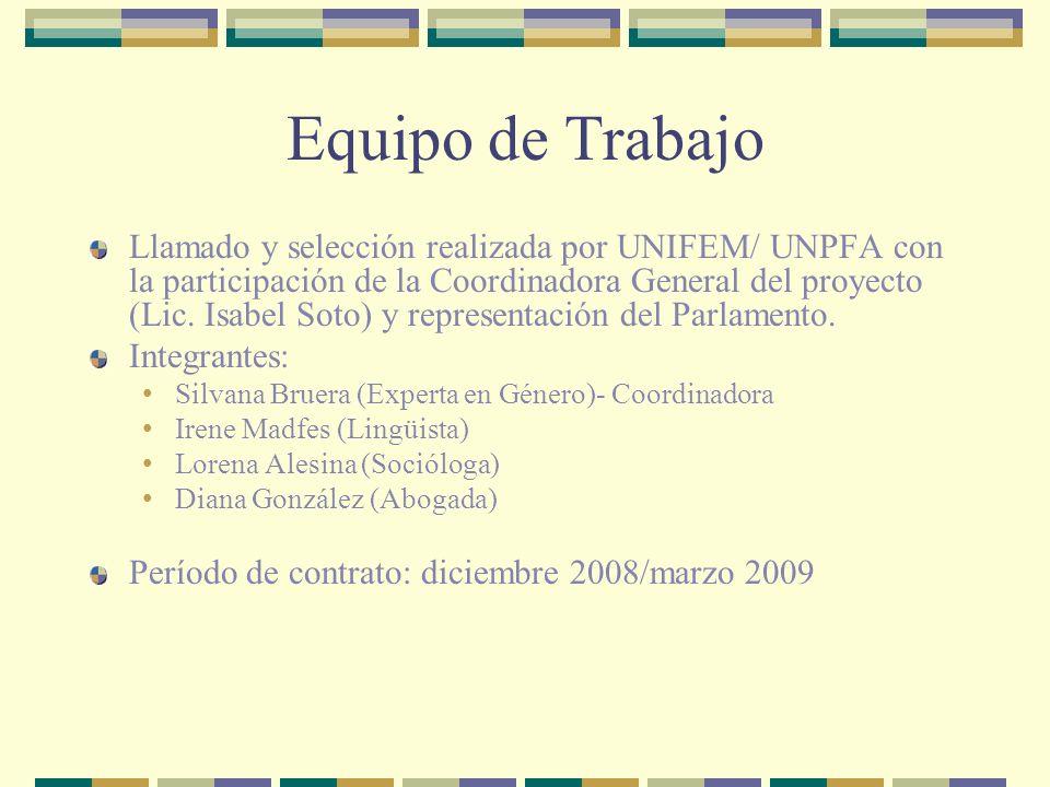 Equipo de Trabajo Llamado y selección realizada por UNIFEM/ UNPFA con la participación de la Coordinadora General del proyecto (Lic.