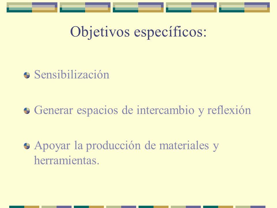 Objetivos específicos: Sensibilización Generar espacios de intercambio y reflexión Apoyar la producción de materiales y herramientas.
