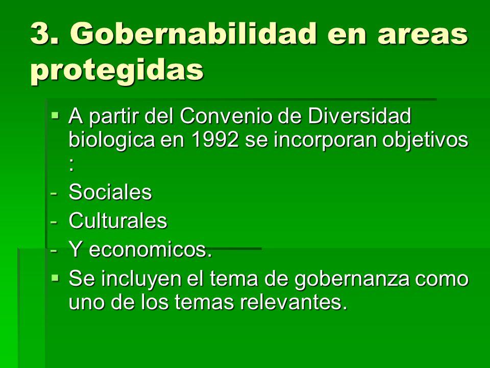 3. Gobernabilidad en areas protegidas A partir del Convenio de Diversidad biologica en 1992 se incorporan objetivos : A partir del Convenio de Diversi
