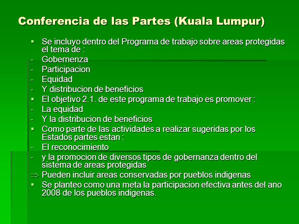Conferencia de las Partes (Kuala Lumpur) Se incluyo dentro del Programa de trabajo sobre areas protegidas el tema de : Se incluyo dentro del Programa de trabajo sobre areas protegidas el tema de : -Gobernenza -Participacion -Equidad -Y distribucion de beneficios El objetivo 2.1.