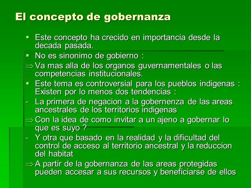 El concepto de gobernanza Este concepto ha crecido en importancia desde la decada pasada.