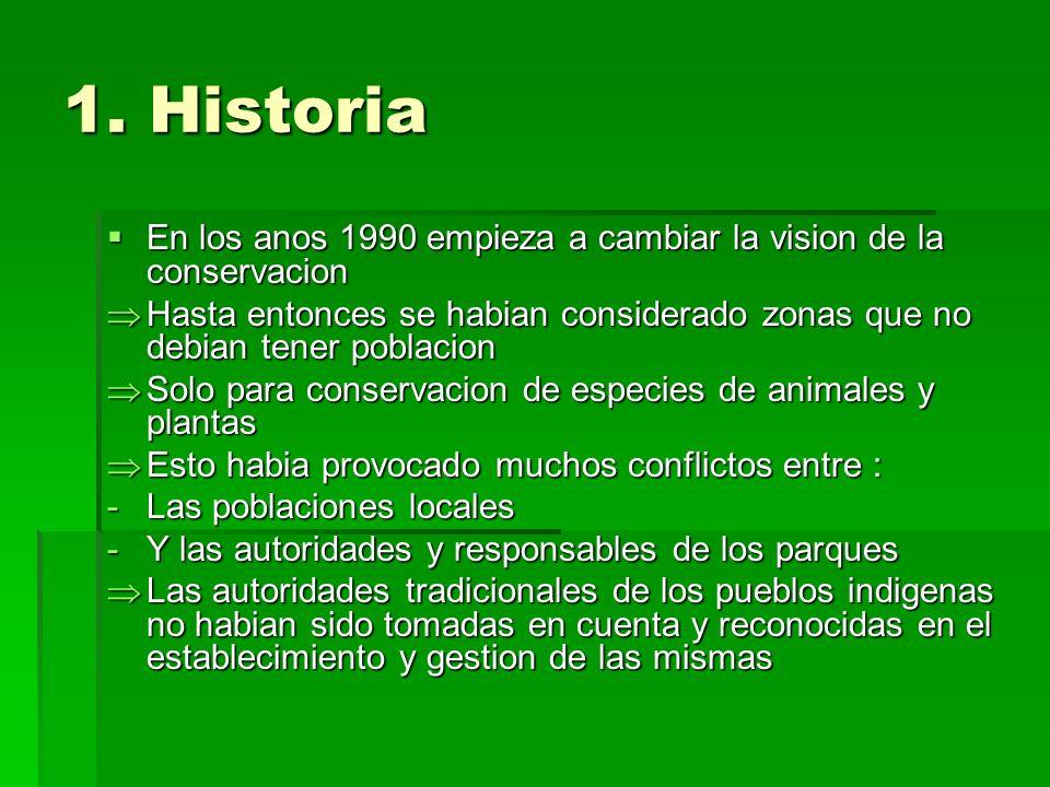 1. Historia En los anos 1990 empieza a cambiar la vision de la conservacion En los anos 1990 empieza a cambiar la vision de la conservacion Hasta ento