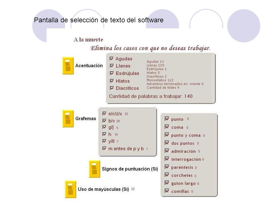 Pantalla de selección de texto del software