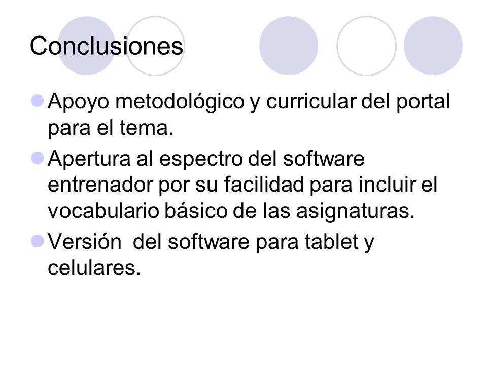 Conclusiones Apoyo metodológico y curricular del portal para el tema. Apertura al espectro del software entrenador por su facilidad para incluir el vo