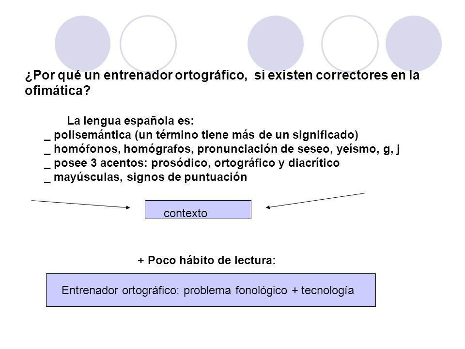 ¿Por qué un entrenador ortográfico, si existen correctores en la ofimática? La lengua española es: _ polisemántica (un término tiene más de un signifi