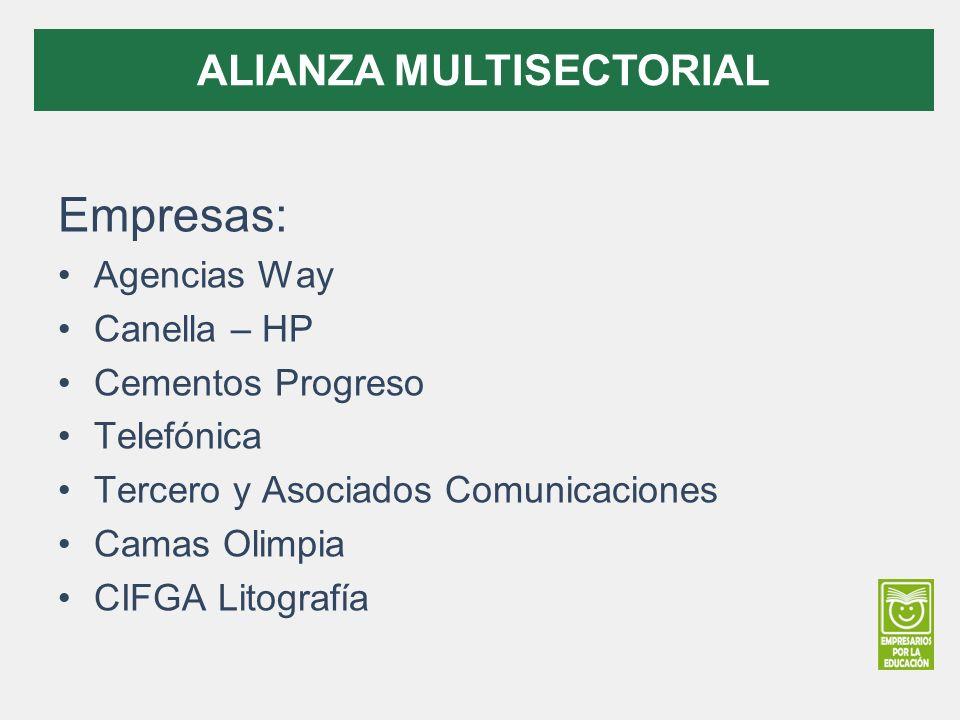 Empresas: Agencias Way Canella – HP Cementos Progreso Telefónica Tercero y Asociados Comunicaciones Camas Olimpia CIFGA Litografía ALIANZA MULTISECTOR