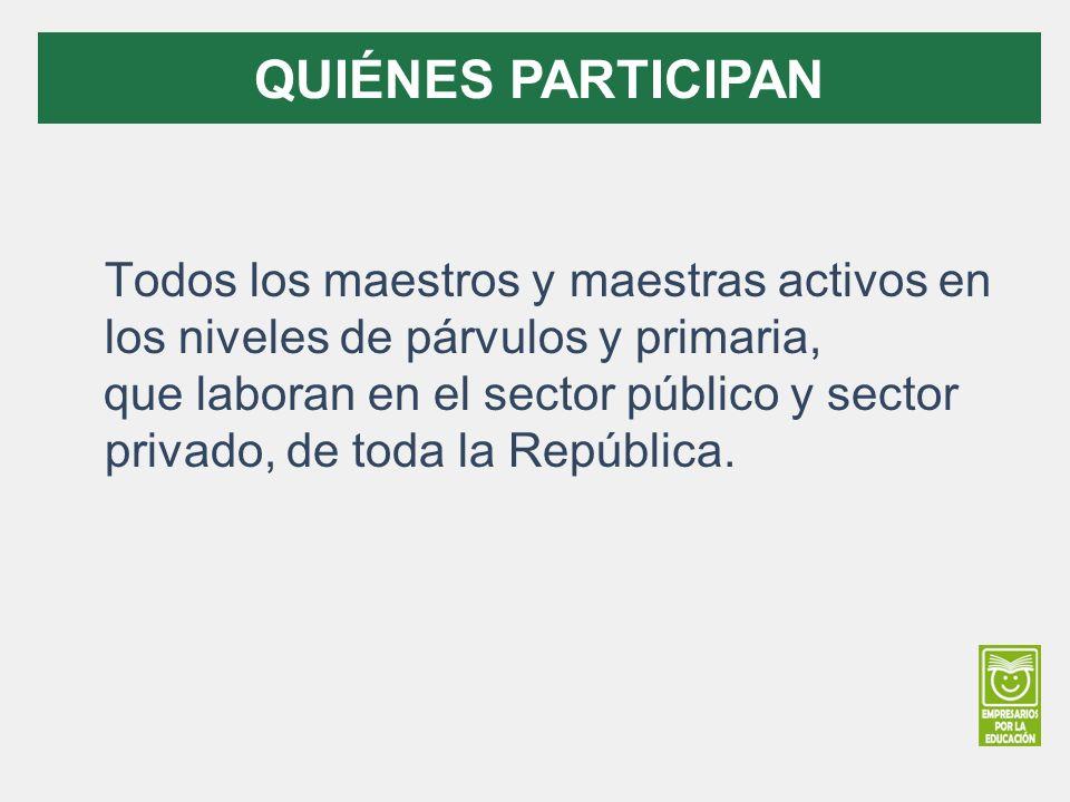 Todos los maestros y maestras activos en los niveles de párvulos y primaria, que laboran en el sector público y sector privado, de toda la República.