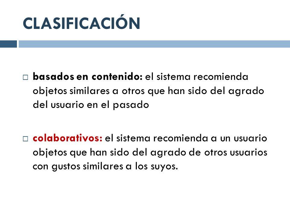 CLASIFICACIÓN basados en contenido: el sistema recomienda objetos similares a otros que han sido del agrado del usuario en el pasado colaborativos: el