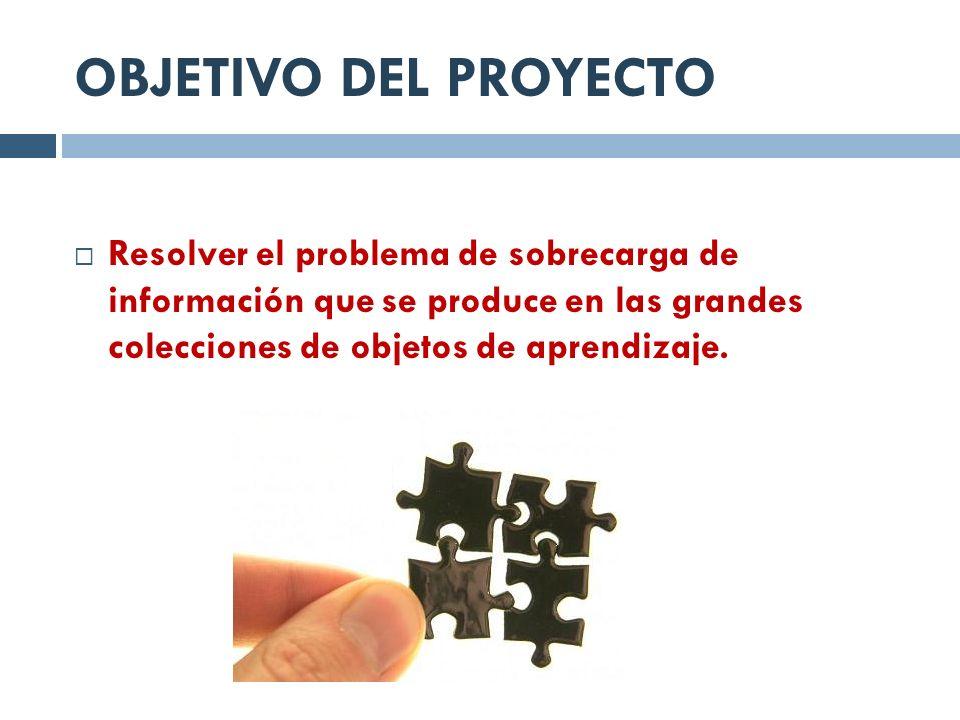 OBJETIVO DEL PROYECTO Resolver el problema de sobrecarga de información que se produce en las grandes colecciones de objetos de aprendizaje.