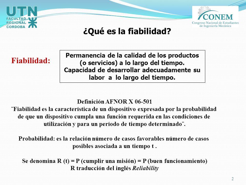 2 Fiabilidad: ¿Qué es la fiabilidad? Permanencia de la calidad de los productos (o servicios) a lo largo del tiempo. Capacidad de desarrollar adecuada