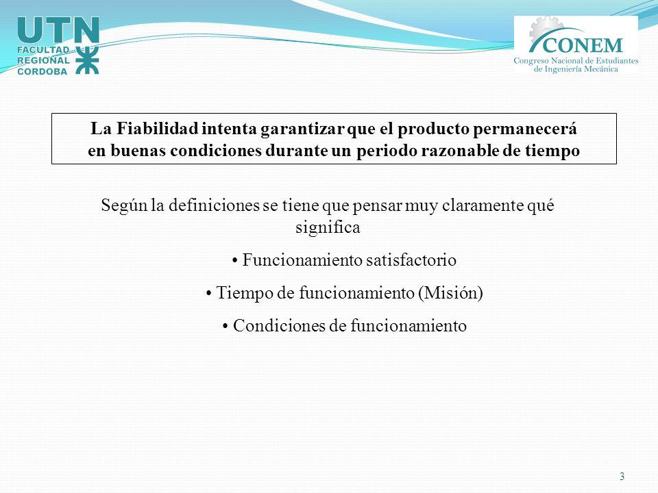 14 R(t) Reliability (Fiabilidad) Esta es la probabilidad de éxito o sea que sobrevivan sin falla transcurrido el mismo tiempo t.