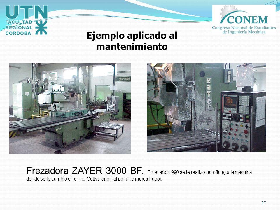 37 Ejemplo aplicado al mantenimiento Frezadora ZAYER 3000 BF. En el año 1990 se le realizó retrofiting a la máquina donde se le cambió el c.n.c. Getty