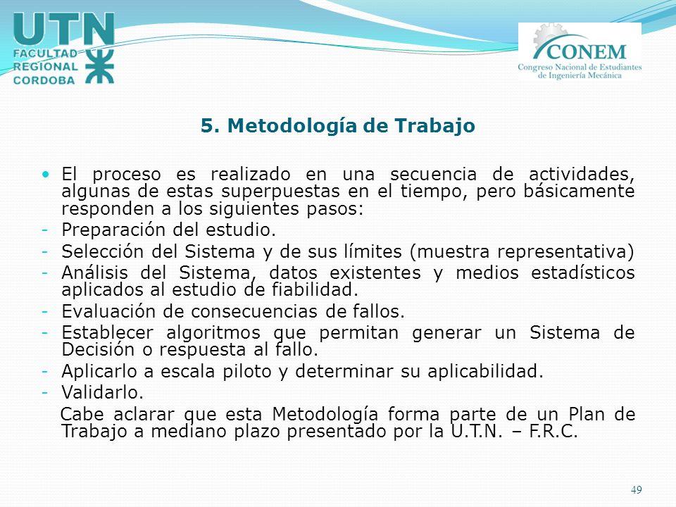 49 5. Metodología de Trabajo El proceso es realizado en una secuencia de actividades, algunas de estas superpuestas en el tiempo, pero básicamente res