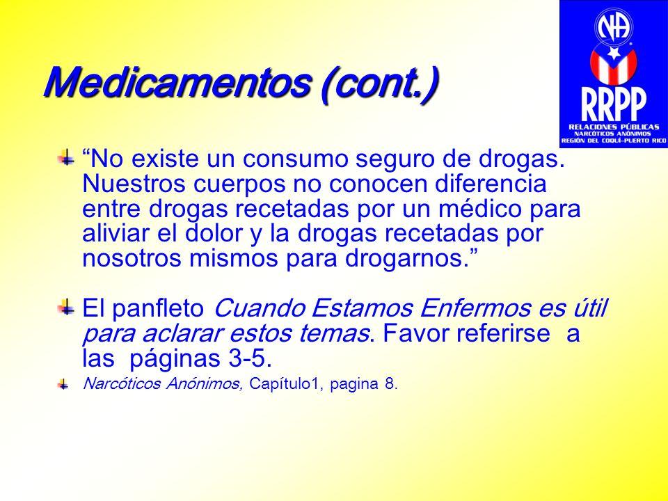 Medicamentos (cont.) No existe un consumo seguro de drogas. Nuestros cuerpos no conocen diferencia entre drogas recetadas por un médico para aliviar e