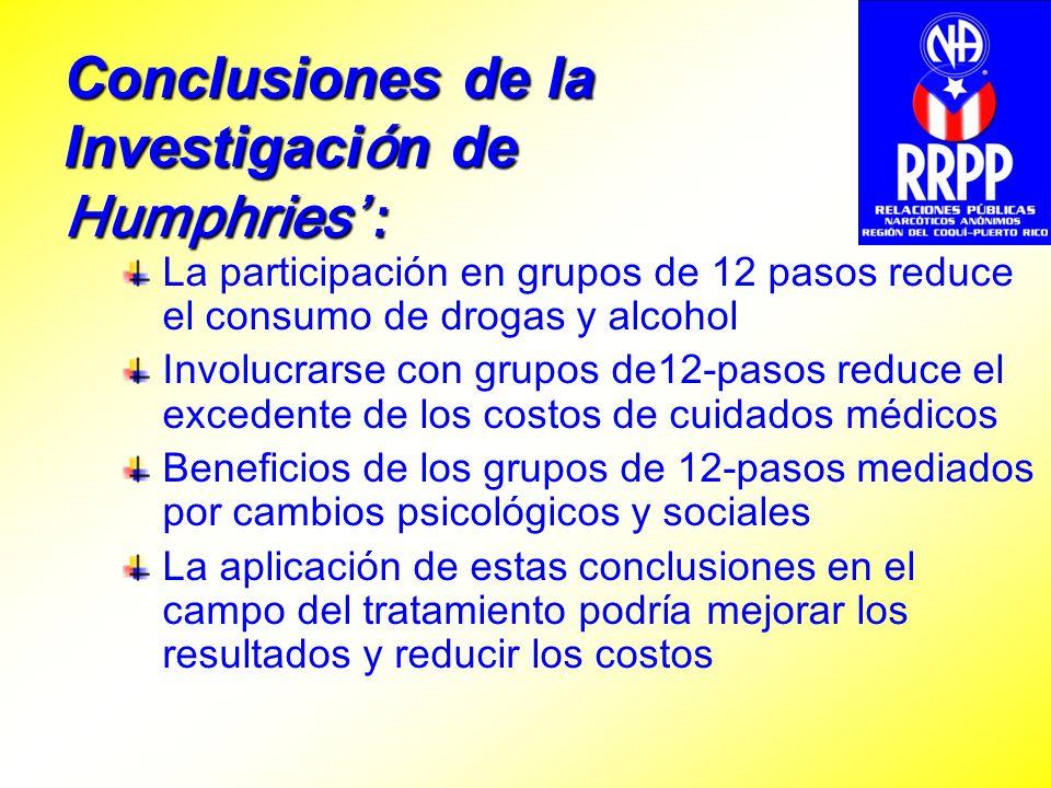 Conclusiones de la Investigaci ó n de Humphries : La participación en grupos de 12 pasos reduce el consumo de drogas y alcohol Involucrarse con grupos