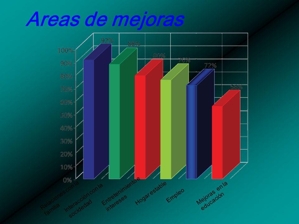 Areas de mejoras Relaciones con la familia Interacción con la socidedad Entretenimiento e intereses Hogar estable Empleo Mejoras en la educación